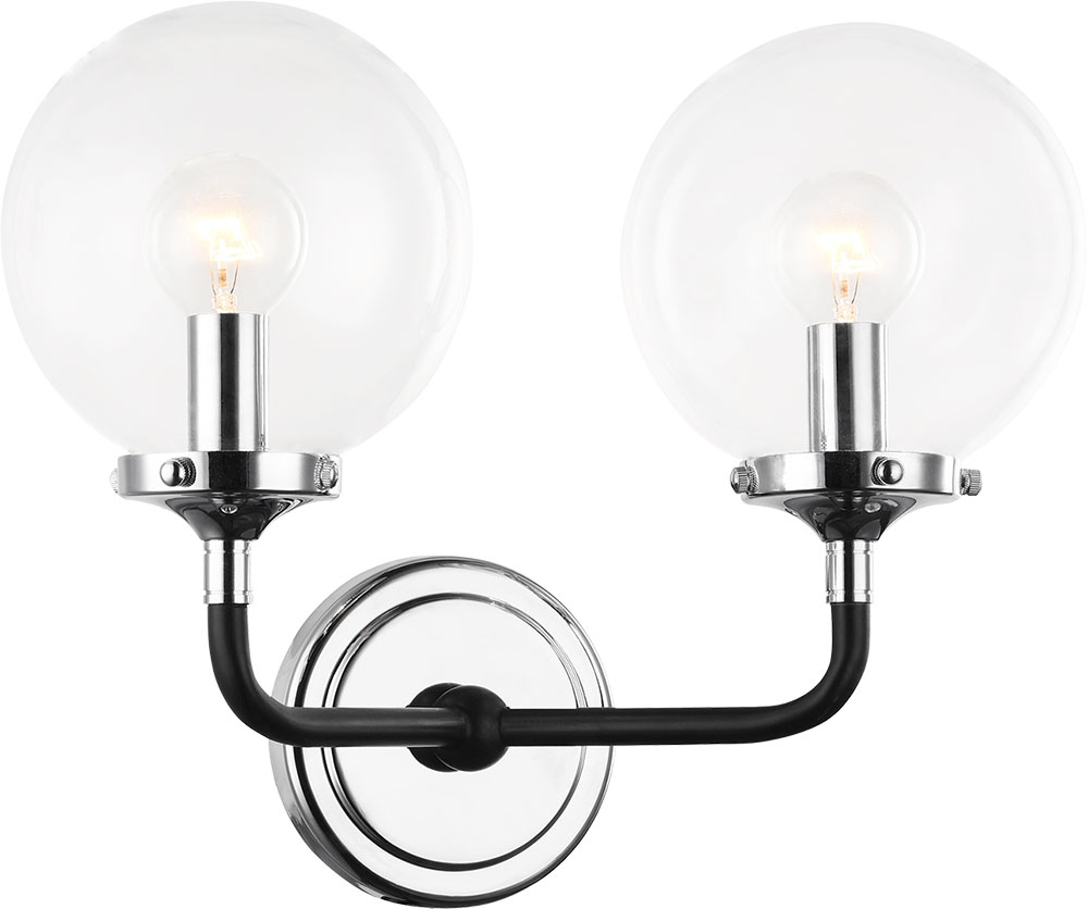 new products 6814a 469df Matteo W58202CHCL Particles Contemporary Black & Chrome Light Sconce