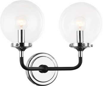 Matteo W58202CHCL Particles Contemporary Black & Chrome Light Sconce