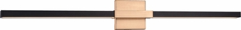 Matteo W64736MBAG Lineare Contemporary Matte Black and Aged Gold Brass LED 35.875 Bathroom Wall Light Fixture