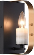 Matteo W82901BKAG Crandle Modern Black and Aged Gold Brass Wall Sconce Lighting