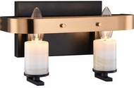 Matteo W82902BKAG Crandle Contemporary Black and Aged Gold Brass 2-Light Bathroom Lighting Fixture