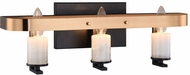 Matteo W82903BKAG Crandle Contemporary Black and Aged Gold Brass 3-Light Vanity Lighting
