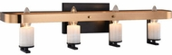 Matteo W82904BKAG Crandle Contemporary Black and Aged Gold Brass 4-Light Vanity Light