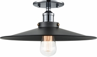 Matteo X46113CHBK Bulstrode's Workshop Contemporary Chrome / Black 14  Flush Ceiling Light Fixture