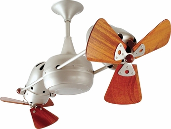 Matthews DD-BN-WD Duplo-Dinamico Modern Brushed Nickel Interior/Exterior 36 Rotational Ceiling Fan with Mahogany Blades