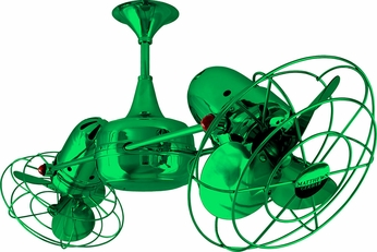 Matthews DD-GREEN-MTL Duplo-Dinamico Contemporary Green Interior/Exterior 36 Rotational Ceiling Fan with Metal Blades