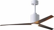 Matthews EKLK-WH-WN Eliza Modern Gloss White w/ Walnut Tone Blades LED 56  Home Ceiling Fan