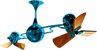 Matthews IV-LTBLUE-WD Italo Ventania Contemporary Light Blue Interior/Exterior 53  Rotational Ceiling Fan with Mahogany Blades