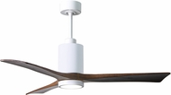 Matthews PA3-WH-WA-52 Patricia Contemporary Gloss White LED Walnut Blade 52  Ceiling Fan