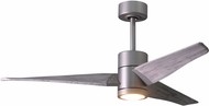 Matthews SJ-BN-BW-52 Super Janet Contemporary Brushed Nickel LED Barn Wood Blade 52  Home Ceiling Fan