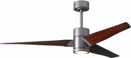 Matthews SJ-BN-WN-60 Super Janet Contemporary Brushed Nickel LED Walnut Blade 60  Home Ceiling Fan
