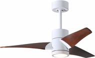 Matthews SJ-WH-WN-42 Super Janet Contemporary Gloss White LED Walnut Blade 42  Home Ceiling Fan