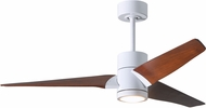 Matthews SJ-WH-WN-52 Super Janet Contemporary Gloss White LED Walnut Blade 52  Ceiling Fan