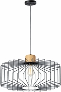 Maxim 10069BKNWD Bjorn Modern Black / Natural Wood Pendant Light