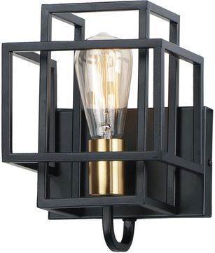 Maxim 10241BKSBR Liner Contemporary Black / Satin Brass Wall Sconce