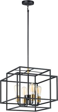 Maxim 10247BKSBR Liner Modern Black / Satin Brass Hanging Pendant Lighting
