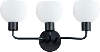 Maxim 11273SWBK Coraline Contemporary Black 3-Light Bathroom Vanity Lighting