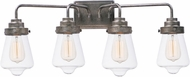 Maxim 11333CLWZ Cape Cod Contemporary Weathered Zinc 4-Light Lighting For Bathroom