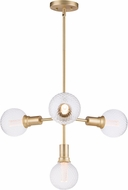 Maxim 11344SBR-BUL-G40-CL Molecule Contemporary Satin Brass LED Mini Lighting Chandelier