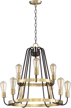 Maxim 11737OIAB Haven Modern Oil Rubbed Bronze and Antique Brass Chandelier Light
