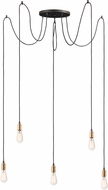 Maxim 12125BKAB-BUL-A50 Early Electric Modern Black / Antique Brass LED Multi Hanging Pendant Lighting