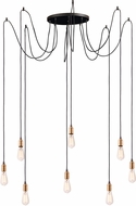 Maxim 12128BKAB-BUL-A50 Early Electric Contemporary Black / Antique Brass LED Multi Hanging Pendant Light