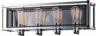 Maxim 12154BKPN Refine Contemporary Black / Polished Nickel 4-Light Bathroom Lighting Fixture
