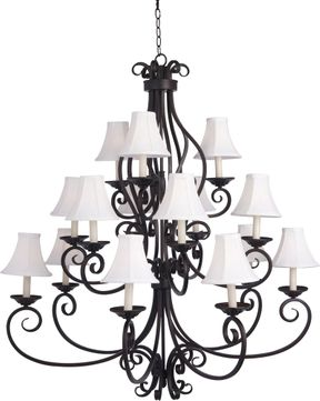 Maxim 12219OI-SHD123 Manor Traditional Oil Rubbed Bronze 45 Chandelier Lighting