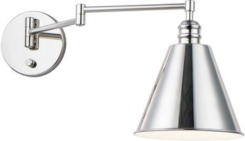 Maxim 12220PN Library Polished Nickel Wall Swing Arm Lamp