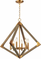 Maxim 12255WOAB Vector Contemporary Weathered Oak / Antique Brass Foyer Lighting