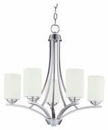 Maxim 20035SWSN Deven Medium Satin Nickel Finish 5 Lamp Hanging Chandelier