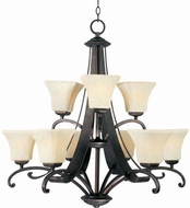 Maxim 21066FLRB Oak Harbor 9 Light Chandelier in a Rustic Burnished Finish