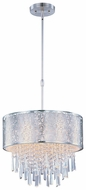 Maxim 22294WTSN Rapture Small White Shade Drum 5-light Contemporary Crystal Pendant Lamp