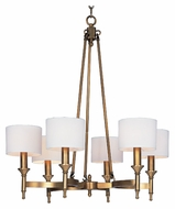 Maxim 22375OMNAB Fairmont 30 Inch Diameter 6 Lamp Natural Aged Brass Chandelier Light