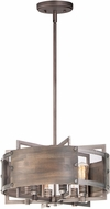 Maxim 25265BWWZ Outland Rustic Barn Wood / Weathered Zinc Drum Pendant Light Fixture