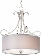 Maxim 26044SWWOSN Bon Ton Satin Nickel Drum Pendant Lighting