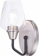 Maxim 26121CLBKSN Goblet Contemporary Black / Satin Nickel Lighting Wall Sconce
