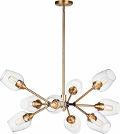 Maxim 26345CLABBK Savvy Contemporary Antique Brass / Black Chandelier Light