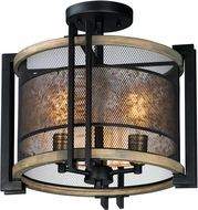 Maxim 27560BKBWAB Boundry Contemporary Black / Barn Wood / Antique Brass Flush Mount Light Fixture