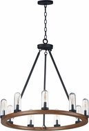 Maxim 30019CDAPBK Lido Contemporary Antique Pecan / Black Exterior Chandelier Lamp