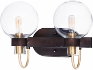 Maxim 30512CLBZSBR Bauhaus Contemporary Bronze / Satin Brass 2-Light Bath Wall Sconce
