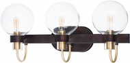 Maxim 30513CLBZSBR Bauhaus Modern Bronze / Satin Brass 3-Light Bathroom Light Sconce