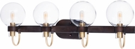 Maxim 30514CLBZSBR Bauhaus Contemporary Bronze / Satin Brass 4-Light Bathroom Lighting Sconce