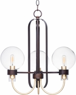 Maxim 30515CLBZSBR Bauhaus Modern Bronze / Satin Brass Mini Chandelier Light