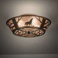 Meyda Tiffany 10010 Northwoods Wolf on the Loose Rustic Antique Copper Flush Mount Light Fixture