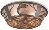 Meyda Tiffany 10014 Northwoods Leaping Trout Rustic Antique Copper / Silver Mica Ceiling Lighting Fixture
