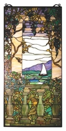 Meyda Tiffany 10043 Tiffany Wisteria Left Column 40 Inch Tall Peacock Stained Glass Window