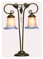 Meyda Tiffany 102402 Twin Grapevine 2 Lamp 20 Inch Tall Art Nouveau Table Lighting With Tulip Shades