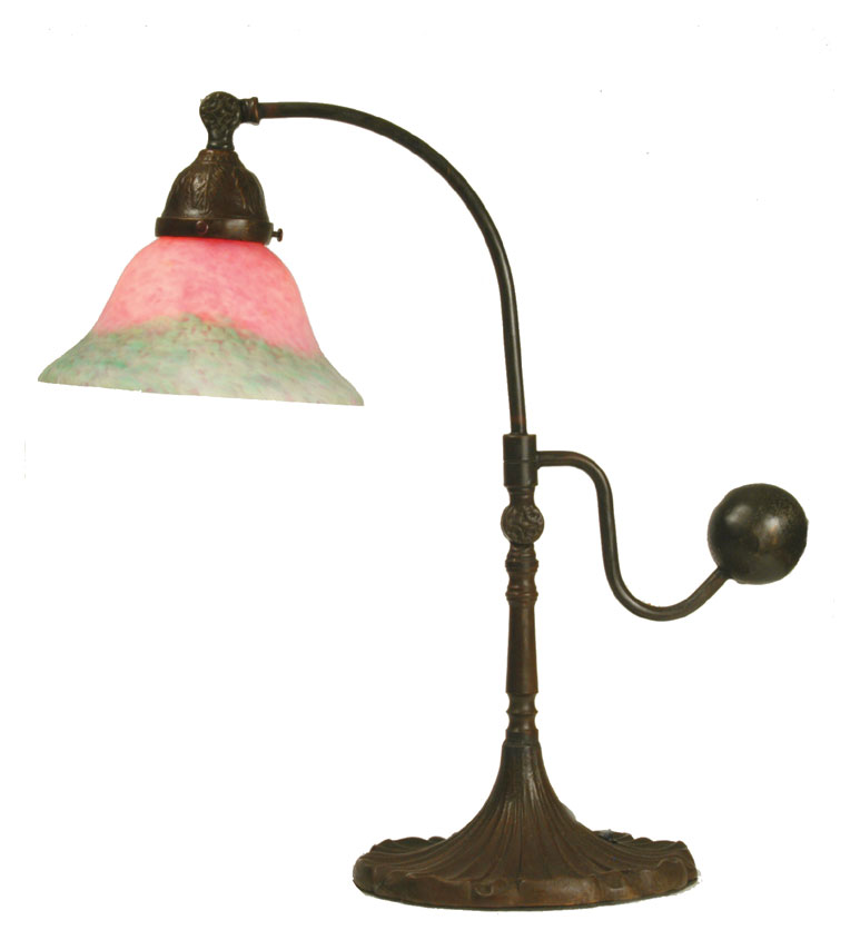 Meyda Tiffany 102407 Counter Balance 9 Inch Tall Pink And Green Desk Lamp Lighting Mey