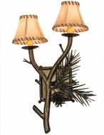 Meyda Tiffany 104458 Lone Pine 2 Lamp 19 Inch Wide Rustic Style Sconce Lighting